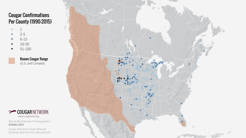 Cougar sightings per county from 1990-2015 (Cougar Network)